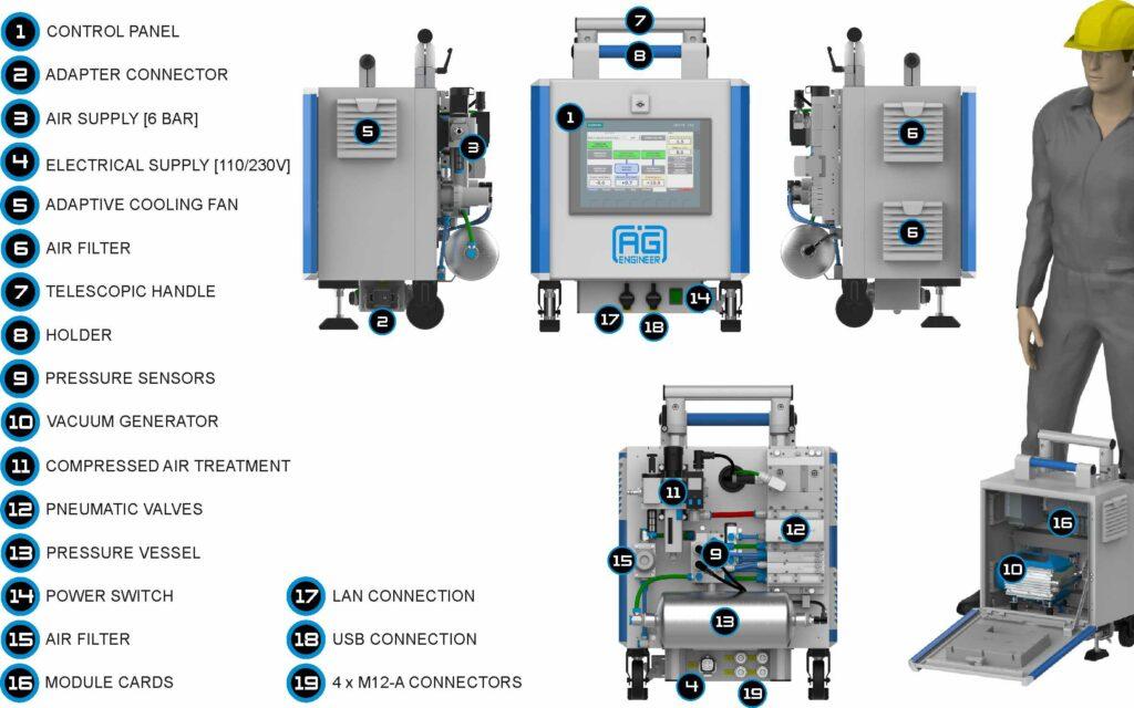 Leak test equipment parts